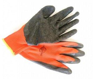 Перчатки полиэстер красные с черным латексным покрытием ONLY ONE 13 калибр р-р XL  RL302C 1/12 1/240