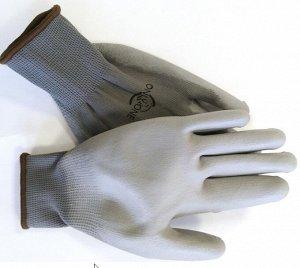 Перчатки полиэстер серые с серым покрытием ONLY ONE ПУ 13 калибр р-р L GP210 1/12 1/240