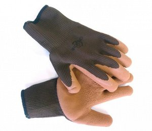 Перчатки полиэстер темно-коричневые с коричневым латексным покрытием (утепленные) ONLY ONE 10 калибр р-р XL BL632F 1/12 1/120