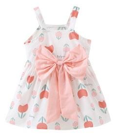 Платье Платье без рукавов декорированное бантом, Материал: смесь хлопка. Размер (рост см): 70 см, 80 см, 90 см, 100 см
