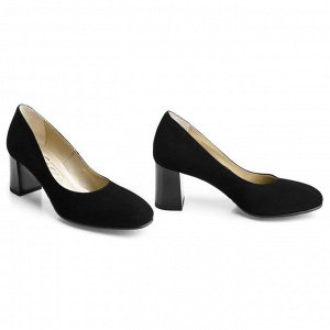 Замшевые туфли на среднем каблуке. Модель 2326 замша
