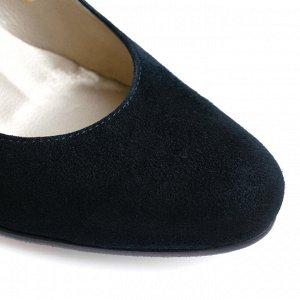 Замшевые туфли с синим каблуком. Модель 2304 замша+синий кабл.