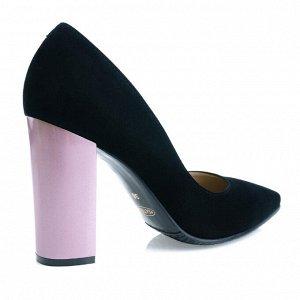 Замшевые туфли на устойчивом каблуке. Модель 2315 эк замша+кабл.роз.жемчуг