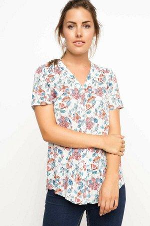 """рубашка женская с коротким рукавом """"Розовые огурцы"""""""