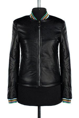 04-2222 Куртка демисезонная (Синтепон 100) Эко-кожа черный