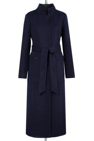 01-08354 Пальто женское демисезонное(пояс) Пальтовая ткань темно-синий