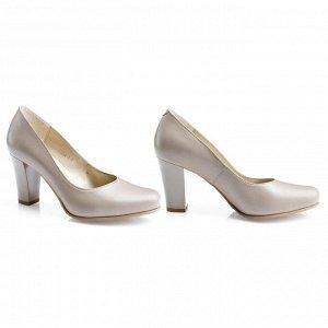 Бежевые туфли на устойчивом каблуке. Модель 2304 беж какао