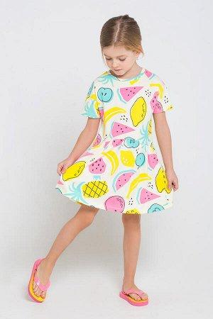 5493 Платье/тропические фрукты на белом