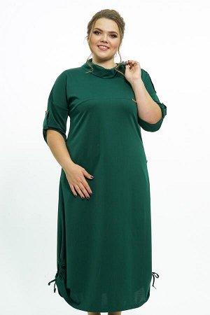 """Платье Платье; Длина платья: Ниже колена;Креп; Цвет: Зеленый Платье """"Бохо"""" зеленое с завязками внизу с пуговками на вороте Материал-Креп Состав ткани: 71%-Вискоза 27%-полиэстер 2%-эластан"""