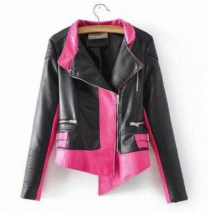 Кожаная куртка ярко-розовая