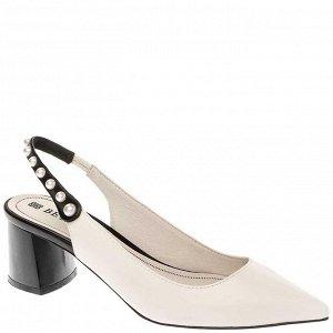 997001/05-04 белый/черный иск.кожа женские туфли открытые
