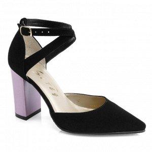 Замшевые открытые туфли. Модель 2330 замша+кабл.роз.жемчуг