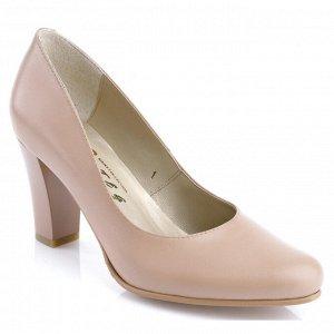 Бежево-розовые туфли на устойчивом каблуке. Модель 2304 беж роз