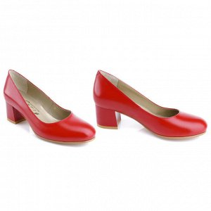 Красные туфли на низком каблуке. Модель 2319 красные