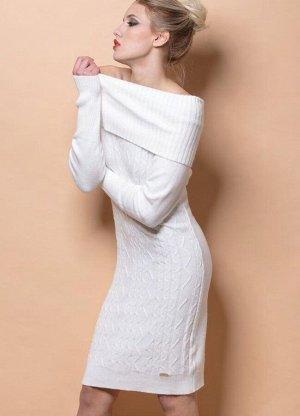 Платье СУПЕРСКОЕ! ОЧЕНЬ МЯГКОЕ И НЕЖНОЕ.  OFF WHITE - белый, VISCOSE 45%, POLYAMIDE 25%, ACRYLIC 20%, MODAL 10%