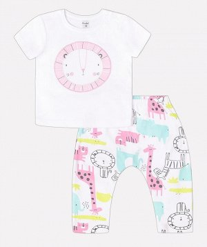 Комплект для девочки Crockid К 2569 белый + розовые звери саванны