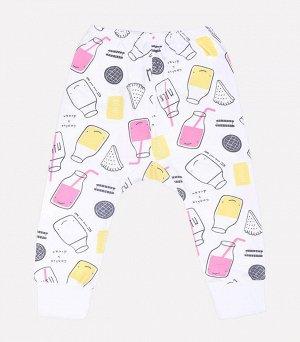 Брюки для девочки Crockid К 4594 розовые бутылочки на белом