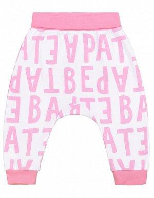 Брюки для девочки Crockid К 4634 розовые нарисованные буквы