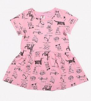 Платье для девочки Crockid К 5417 домашние животные на нежно-розовом