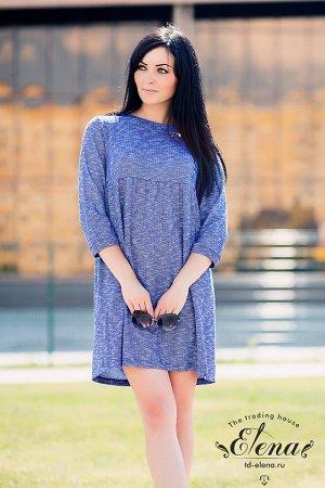 Платье Платье из полотна комбинированного переплетения. Силуэт свободный, рукава длиной 3/4, низ оформлен притачными манжетами. Горловина обработана обтачными планками. Нижняя часть платьяприсборена