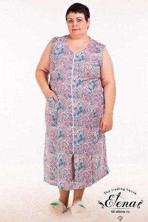 Халат Халат женский без рукавов, выполнениз 100% хлопковой ткани. Центральная застёжка на молнию, два кармана спереди. Размерный ряд: 44-72. ВНИМАНИЕ!!! На данную модель гарантии по цвету нет! Расцв