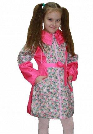Плащ Плащ для девочек ((Ткань верха плащевая Dewspo PU milky, в качестве подкладки по спинке и грудке до талии fleece 180, остальное подкладочная ткань, цвет:фуксия/беж)