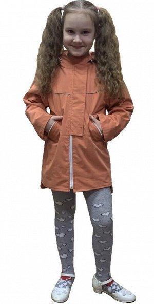 Куртка для девочек на флисе удлиненная (Ткань верха плащевая 70%нейлон, 30% хлопок, подкладка флис 180, ветрозащитная планка при