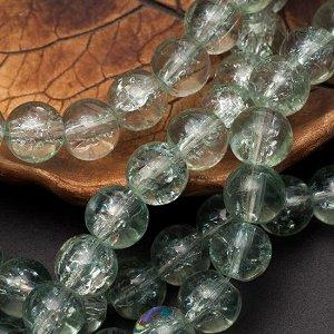 Бусины стеклянные прозрачные с эффектом кракле, цвет зеленая пастель, диам. 8мм, отв-е 1мм.