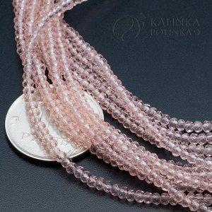 Хрустальные розовые бусины, форма рондель, мелкая грань, имитация Сваровски, р-р 2.4х1.5мм, в нитке 180 бусин.