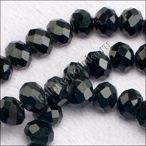 Бусины хрустальные рондели, имитация Сваровски, цвет непрозрачный чёрный, р-р 10х7мм, отв-е 1.5мм, в нитке 65 бусин