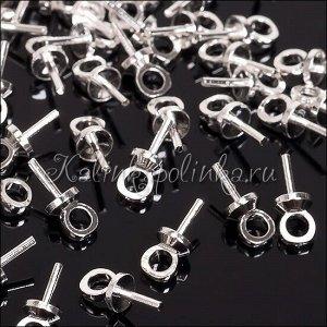 Держатели для кулонов штифтовые, латунь, цвет серебро, 7мм, отверстие 1.5мм
