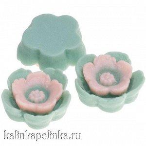 Цветочки из эпоксидной смолы, цвет мелисса с розовым, р-р 13х4.5мм