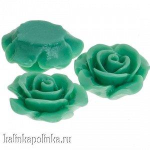 Кабошон в виде цветка, акриловый, цвет нежно-зеленый, р-р 15х7мм