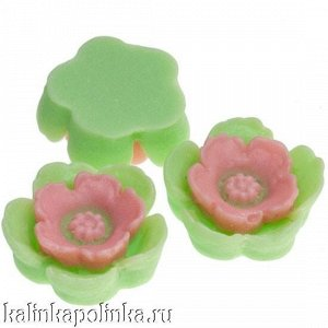 Цветочек из эпоксидной смолы, цвет салатовый с розовым, р-р 13х4.5мм