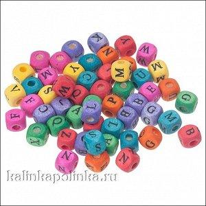 Микс разноцветных деревянных бусин-кубиков с русскими буквами, р-р 8х8мм, отв-е 3мм.
