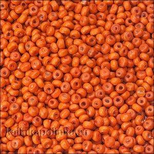 Бусины деревянные, окрашенные, цвет оранжевый, размер 3х4.5мм, отв. 1.5мм.