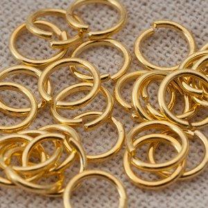 Колечки соединительные, цвет желтое золото, железо, р-р 7х0.9мм, в 10 гр. около 95 шт., Колечки соединительные, цвет желтое золото, железо, р-р 7х0.9мм, в 30 гр. около 285 шт., ОПТ Колечки соединитель