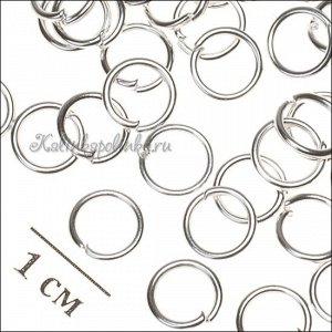 Колечки соединительные, железные, гальваническое покрытие цвета серебро, р-р 7х1мм.