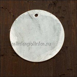 Подвеска кулон перламутровая круглая, цвет естественный белый, р-р 30мм, толщина 1мм