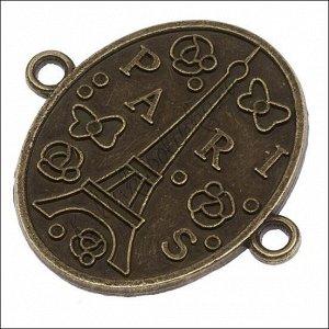 Коннекторы 1/1, Париж, сплав, цвет бронза, р-р 34.5х32х2мм, отв.