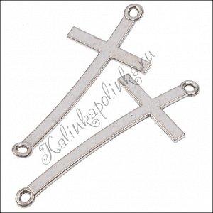 Коннекторы для браслетов Крест, 1/1, сплав, цвет античное серебро, р-р 51х20х1.2мм, отв. 2.5мм