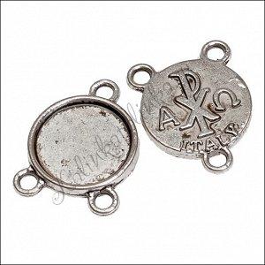 Рамка-коннектор металлическая 2/1, р-р 14x18x2мм, отв-е 2мм, цвет античное серебро, ОПТ Рамка-коннектор металлическая 2/1 Italy, р-р 14x18x2мм, отв-е 2мм, цвет античное серебро