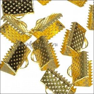 Зажимы для лент железные, цвет желтое золото, ширина 13мм, отв-е 2мм