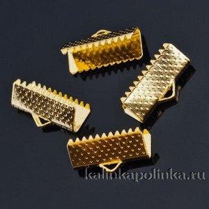 Зажимы для лент железные, цвет желтое золото, ширина 16 мм, отв-е 1 мм