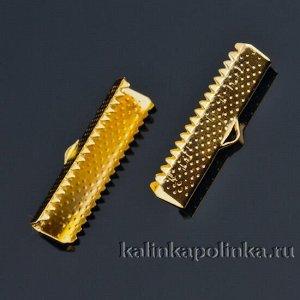 Зажимы для лент железные, цвет желтое золото, ширина 25 мм, отв-е 1 мм
