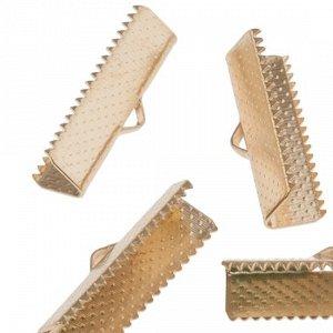 Зажимы для лент железные, цвет русское золото, 7х7.5х25 мм, отв-е 1 мм