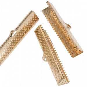 Зажимы для лент железные, цвет русское золото, ширина 30мм, отв-е 2мм