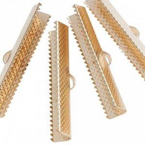 Зажимы для лент железные, цвет русское золото, ширина 40мм, отв-е 2мм
