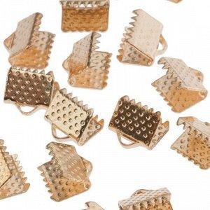 Зажимы для лент железные, цвет русское золото, ширина 8мм, отв-е 2мм