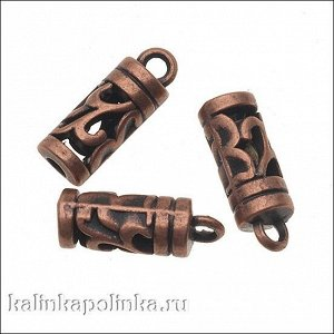 Концевик для шнура, цвет медь, р-р 11х6мм, р-р отв-я 2.5мм